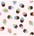 seamless background with colorful cupcakes vector image