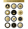 set of printable gold and black cupcake toppers vector image vector image