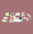 set stickers people visit shop with reusable vector image