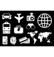 set travel white icon vector image