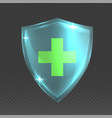 shield with cross realistic 3d glass armor vector image