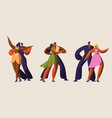 slasa party dancer couple character set vector image