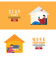 stay home social distancing concept work from vector image