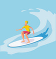 surfer riding wave flat vector image vector image