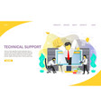 technical support landing page website template vector image vector image