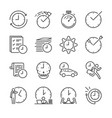 time management line icon set vector image