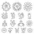 types of funny microbes outline icons in set vector image vector image