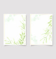 watercolor green leaf and golden glitter frame vector image vector image