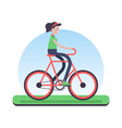 woman riding bicycle outdoor for environment help vector image