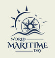 world maritime day with compass in flat style vector image vector image