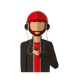 young man avatar character with headphone audio vector image vector image