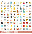 100 art school icons set flat style vector image