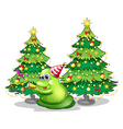 A monster near the christmas trees vector image vector image