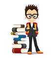 a school boy with a pile of books vector image