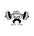 alligator weightlifter lifting heavy barbell vector image