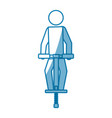 blue line pictogram man jumping with a pogo stick vector image