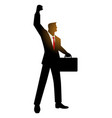 businessman with suitcase raising his right arm vector image