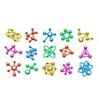 color art molecule icons vector image vector image