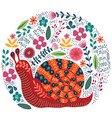 cute folk snail and flowers vector image vector image