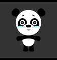 cute panda cartoon sad character gray vector image