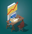 empty desktop for businessman isometric vector image vector image