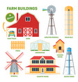 farm buildings set vector image