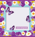 floral card template with empty frame vector image vector image