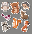 forest animal stickers forest animal stickers vector image
