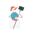 funny cheerful snowman character with shovel vector image