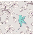 Hand drwn seamless psttern with colibri bird vector image