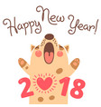 happy 2018 new year card funny puppy vector image vector image