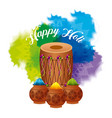 happy holi dholak gulal powder explosion color vector image