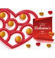 happy valentine day background with glossy hearts vector image