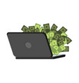 internet earnings web money laptop and dollars vector image
