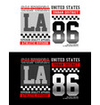 la california 86 typography for t-shirt vector image vector image