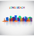 long beach skyline silhouette in colorful vector image vector image