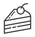 piece of cake line icon food and drink vector image vector image