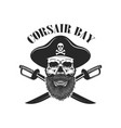 pirate skull with crossed sabers design elements vector image vector image