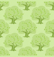 seamless pattern tree oak on light green vector image vector image
