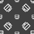 Server icon sign Seamless pattern on a gray vector image
