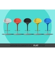Set of colored stools in a flat style vector image