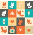 Set of colorful fox icons vector image vector image