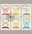 set retro postage stamps with various vector image vector image