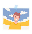shot smiling young man taking selfie on nature vector image vector image