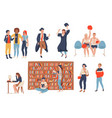 students in school college or university set of vector image