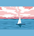 summer evening seaside or pond with sailing boat vector image