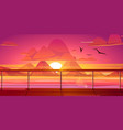 sunset in ocean mountains view from ship deck vector image vector image