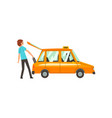 taxi service man putting luggage in car cartoon vector image vector image