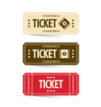 tickets set cinema ticket vector image vector image