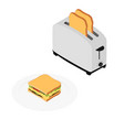 toaster with bread vector image vector image